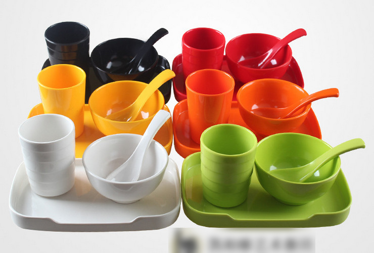 High-class A5 Melamine Ceramic-like Colorful Bowl Plate Cup Spoon 4-piece Set Tableware