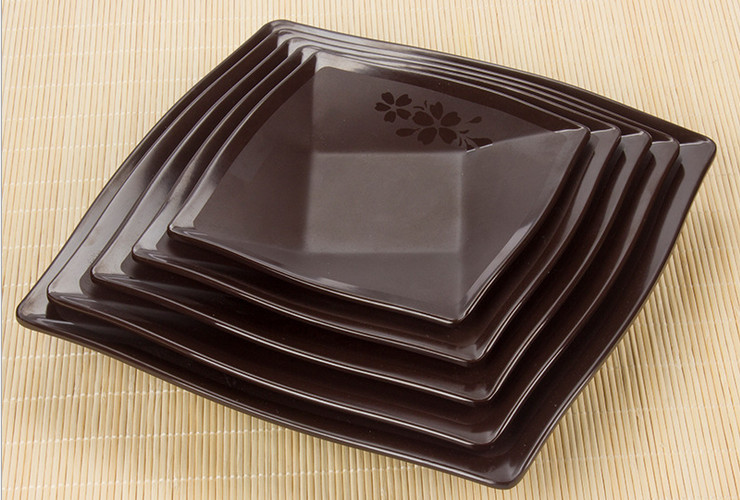 High-class A5 Melamine Brown Matte Cherry Ceramic-like 9-grid Shallow Rice Plate Square Plate