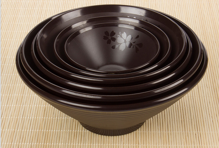 High-class A5 Melamine Brown Matte Cherry Ceramic-like Screw-pattern Horn Bowl Sharp-bottle Soup Noodle Bowl