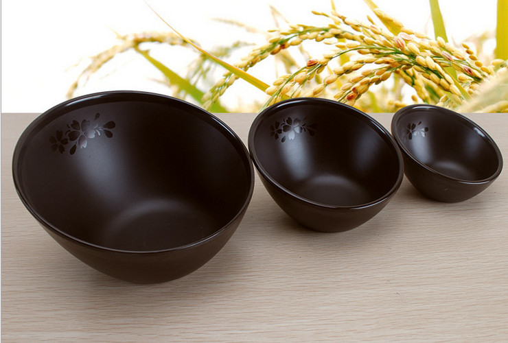 High-class A5 Melamine Brown Matte Cherry Ceramic-like Hotpot Vegetable Tilted-mouth Bowl