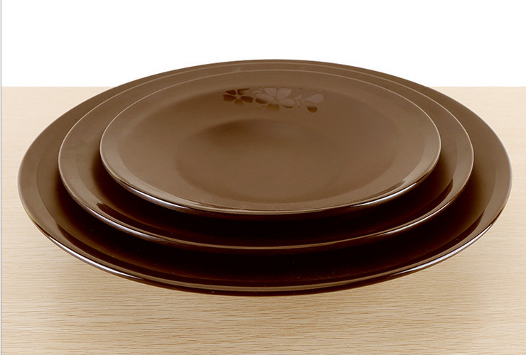 High-class A5 Melamine Brown Matte Cherry Ceramic-like Round Soup Deep Plate