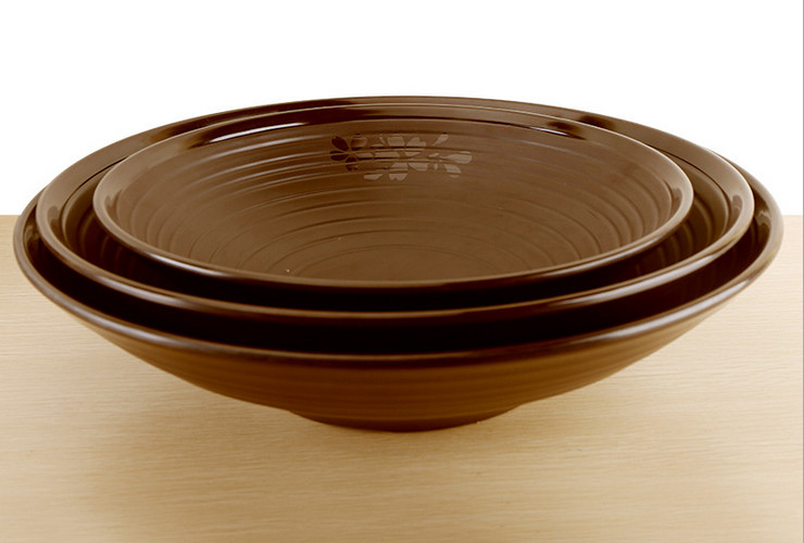 High-class A5 Melamine Brown Matte Cherry Ceramic-like Noodle Screw-pattern Big Bowl