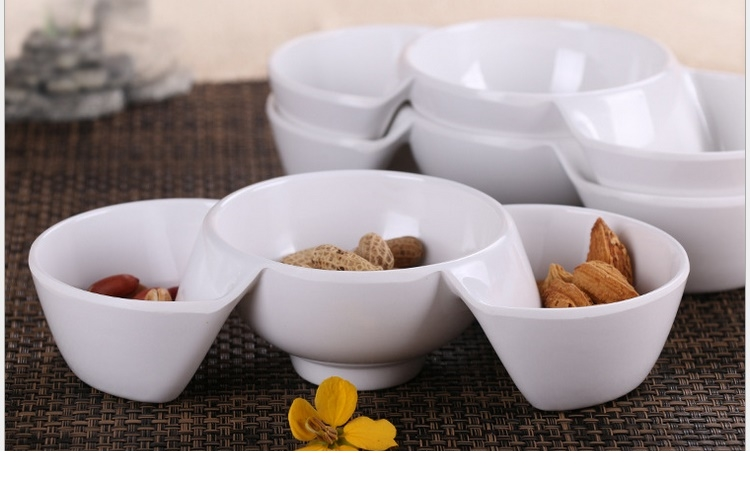 Melamine Scientific Porcelain Porcelain-like Creative Three-cell Snack Plate