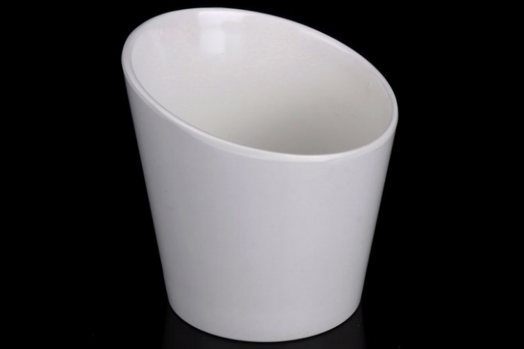 Thickened Ceramic-imitated Melamine Tilted-mouth Vegetable Cylinder Deep Dish Tilted-mouth Bowl Hotpot Food Material Inclined Cylinder