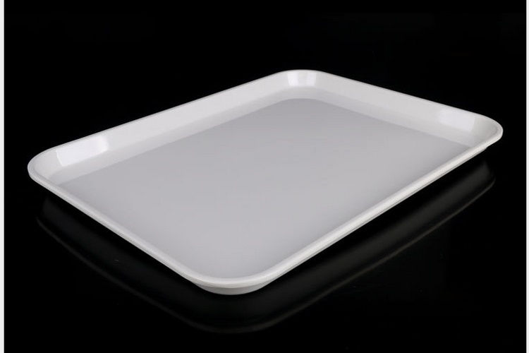 Scientific Porcelain Ceramic-imitated Melamine Tray Restaurant Bar Tea Tray White Color Melamine Deliver Meal Dish