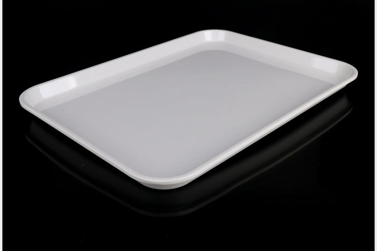Scientific Porcelain Ceramic-imitated Melamine Tray Restaurant Bar Tea Tray White Color Melamine Deliver Dish Meal Dish