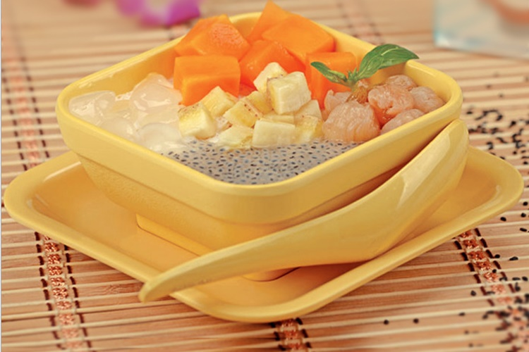 Melamine Ceramic-imitated Yellow Square Bowl Set Dessert Shop Creative Bowl Tableware