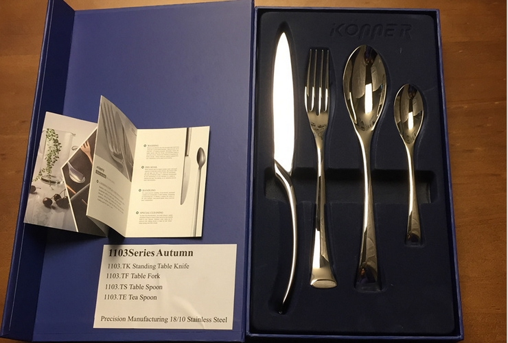 German konner18-10 Stainless Steel Knife Fork Spoon Small Spoon 4-piece Gift Set