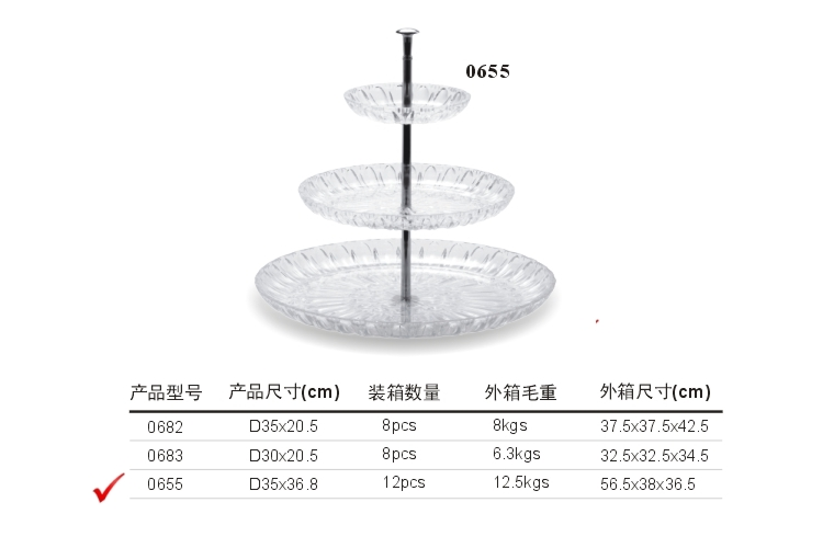 PC High-class Crystal-like Double-layer Fruit Plate