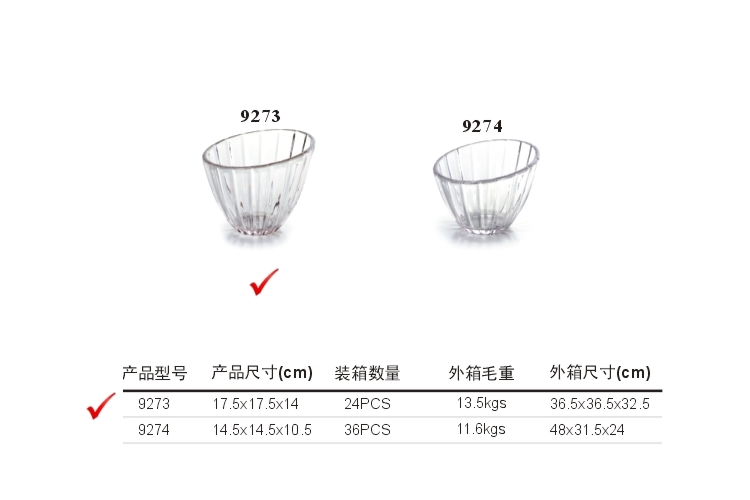 PC High-class Crystal-like Fruit Bowl Salad Bowl Dessert Bowl