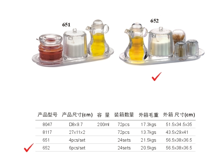 Acrylic Dressing Set (8016 * 1,8047 * 1,8007 * 1,08117 * 1,8002 * 2)
