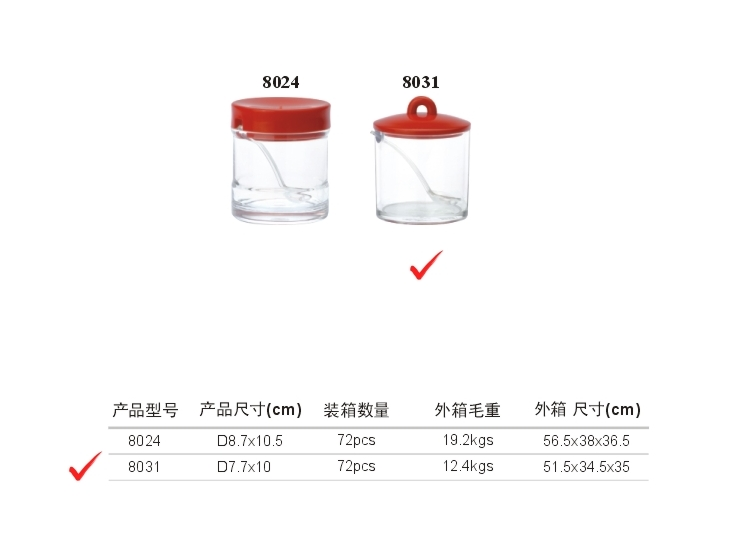Acrylic Japanese Seasoning Tank (Red, Yellow, Green, Coffee)
