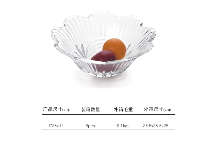 Organic Glass Acrylic Displayware Round Flower Fruit Tray