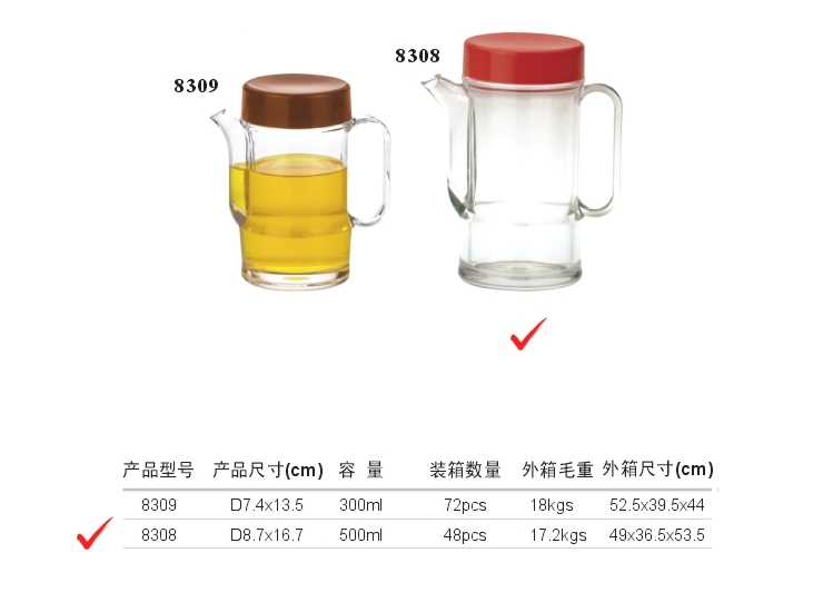 Acrylic B Belt Handle Soy Sauce (Large) (Red, Yellow, Green, Coffee)