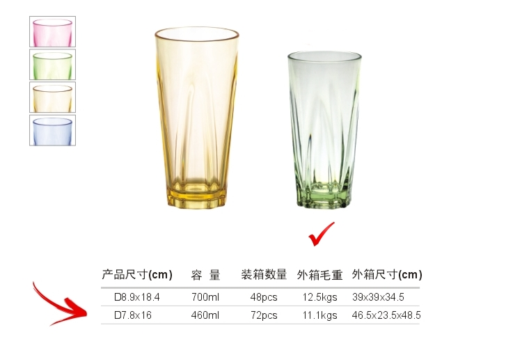 PC Plastic Glass-like Angular Drinks Tumbler 460ml