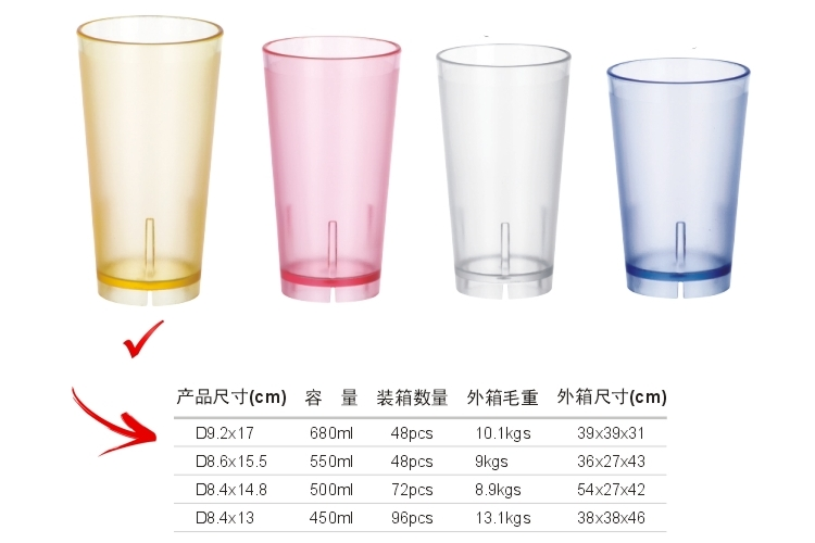 PC Plastic Glass-like Colorful Drinks Tumbler 680ml