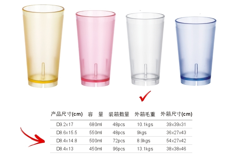 PC Plastic Glass-like Colorful Drinks Tumbler 500ml