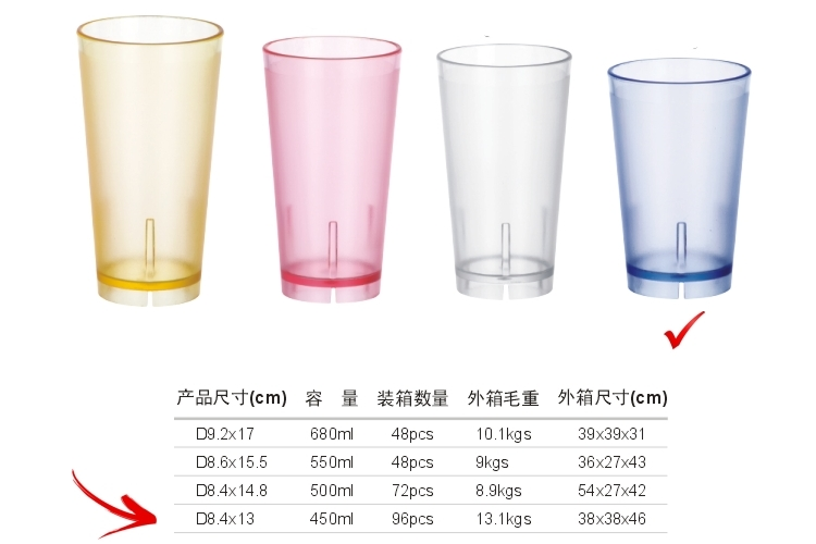 PC Plastic Glass-like Colorful Drinks Tumbler 450ml