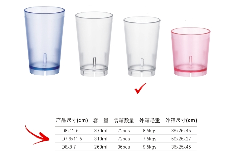 PC Plastic Glass-like Colorful Drinks Tumbler 310ml
