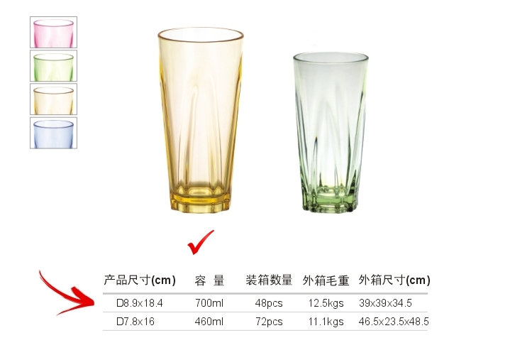 PC Plastic Glass-like Angular Drinks Tumbler 700ml