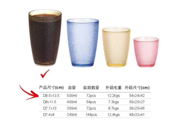 PC Plastic Glass-like Dot Mug 500ml