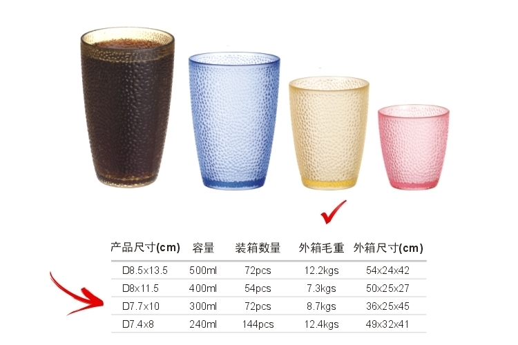 PC Plastic Glass-like Dot Mug 300ml