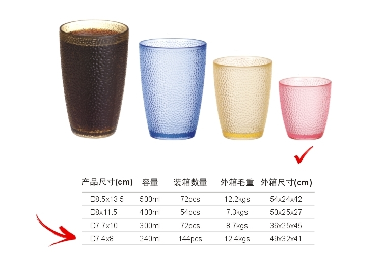 PC Plastic Glass-like Dot Mug 240ml