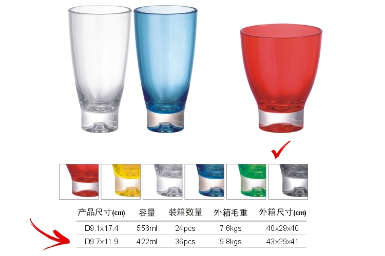 PC Plastic Glass-like Color Mug 422ml