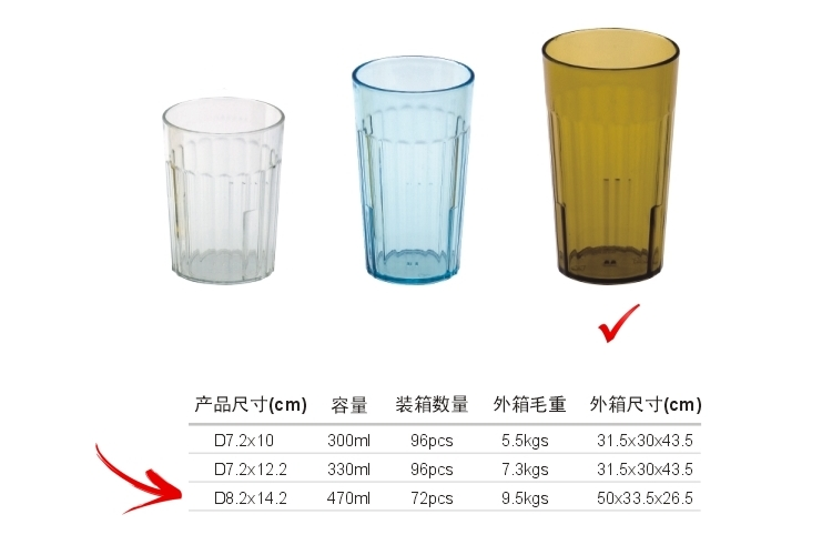 AS Plastic Glass-like Stripe-pattern Drinks Tumbler 470ml