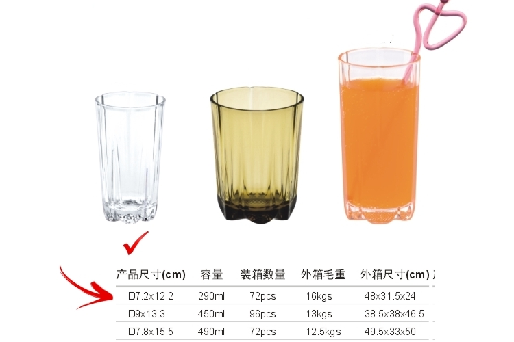 AS Plastic Glass-like Stripe-pattern Drinks Tumbler 290ml