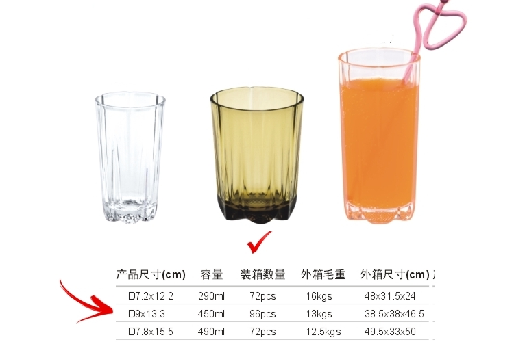 AS Plastic Glass-like Stripe-pattern Drinks Tumbler 450ml