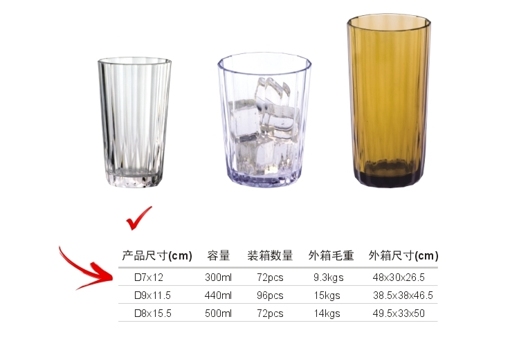 AS Plastic Glass-like Stripe-pattern Drinks Tumbler 300ml