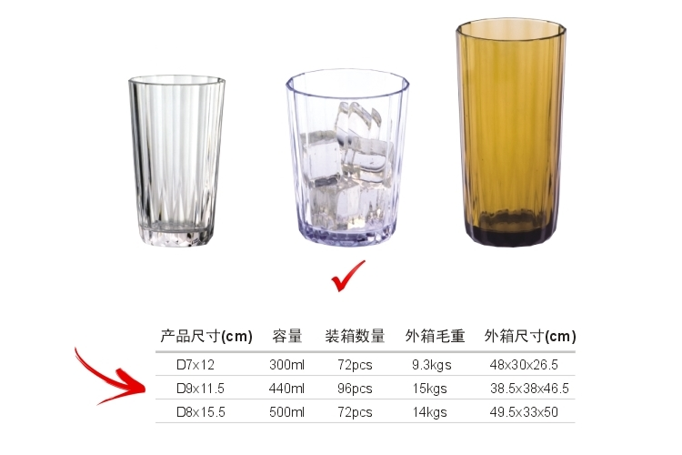 AS Plastic Glass-like Stripe-pattern Drinks Tumbler 400ml