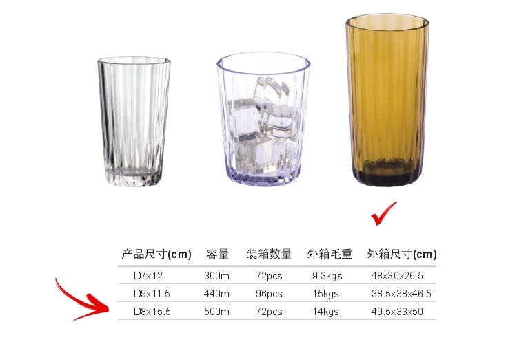 AS Plastic Glass-like Stripe-pattern Drinks Tumbler 500ml