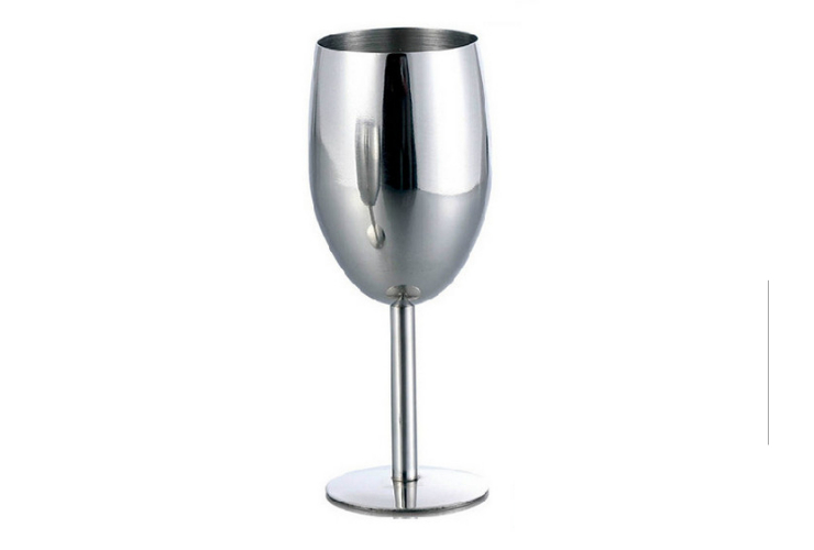 High-class Stainless Steel Metal Wine Glass Tall-leg Wineglass