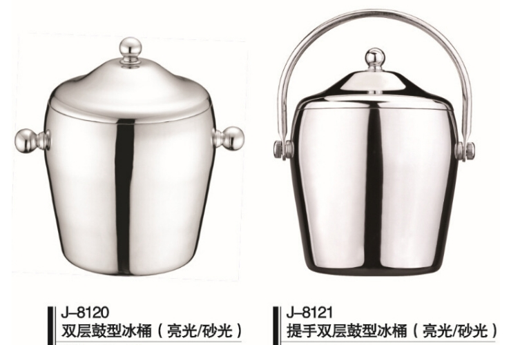 European-style Creative High Class Stainless Steel Hand-carrying With Lid Temperature-keep Ice Bucket