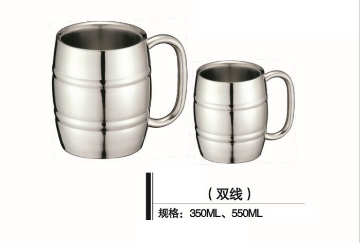 Stainless Steel Tea Water Coffee Cup Double-line Stainless Beer Cup