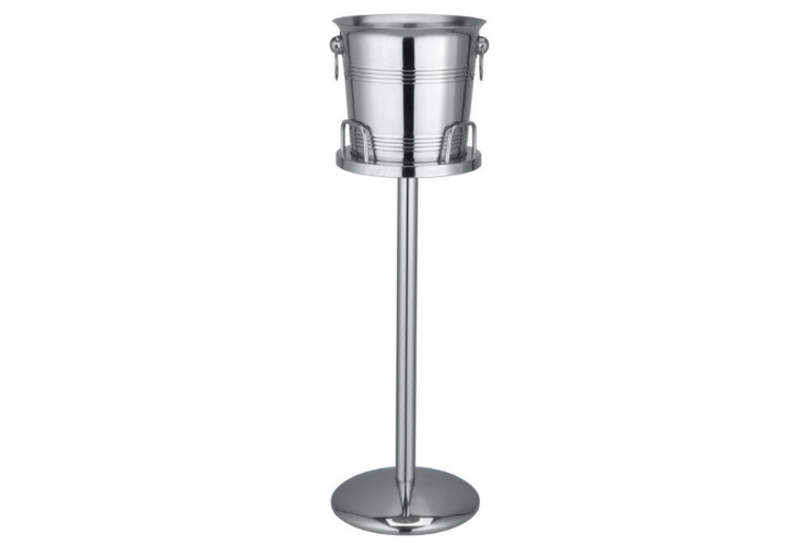Stainless Steel Champagne Bucket Single-layer Big Capacity 10L Ice Bucket with Rack
