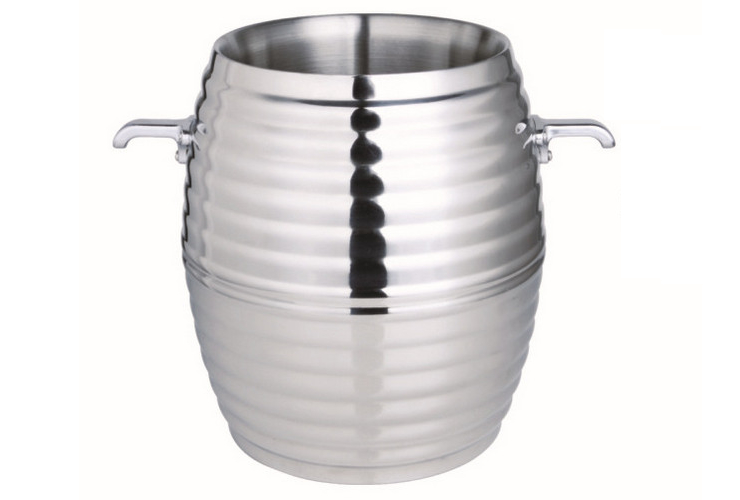 Double-layer Screw-pattern High-class Stainless Steel French-style Wine Champagne Ice Bucket Vomiting Vomiting Bucket