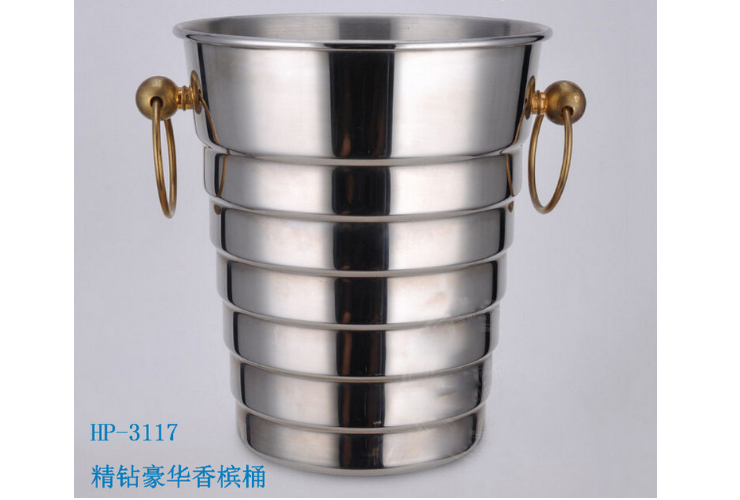 High-class Crew-pattern Stainless Steel Double Gold Ring Champagne Wine Bottle Ice Bucket 5L