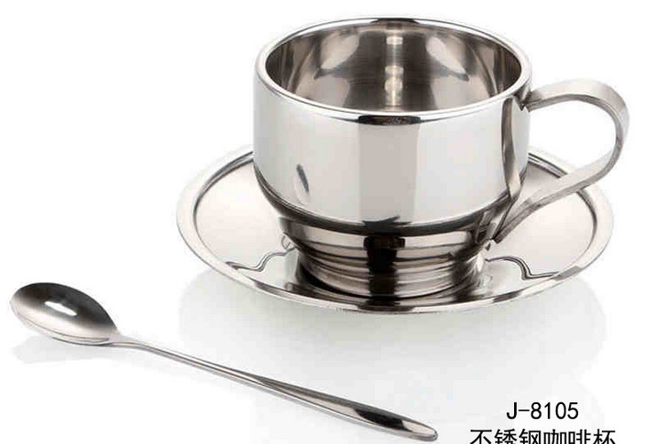 Heat-proof Double-layer Stainless Steel European Style Coffee Cup with Saucer Spoon Set