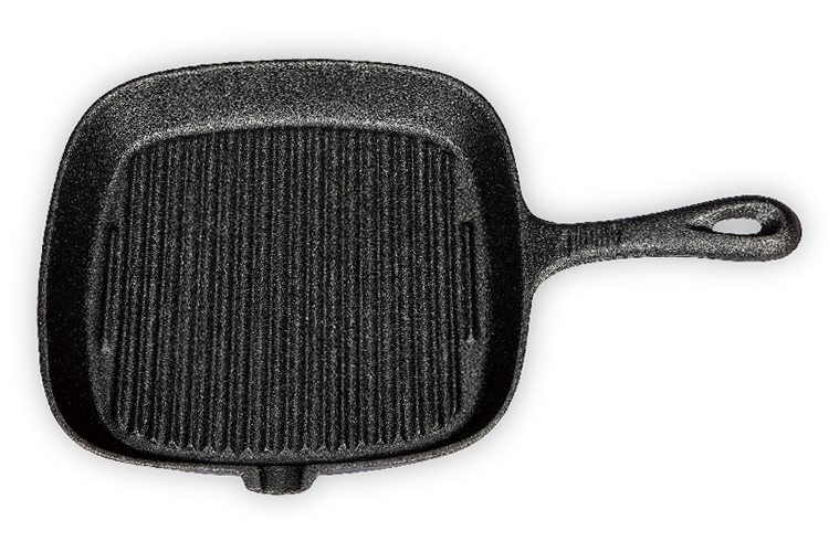 24CM Single-handle Square Iron Grill Plate