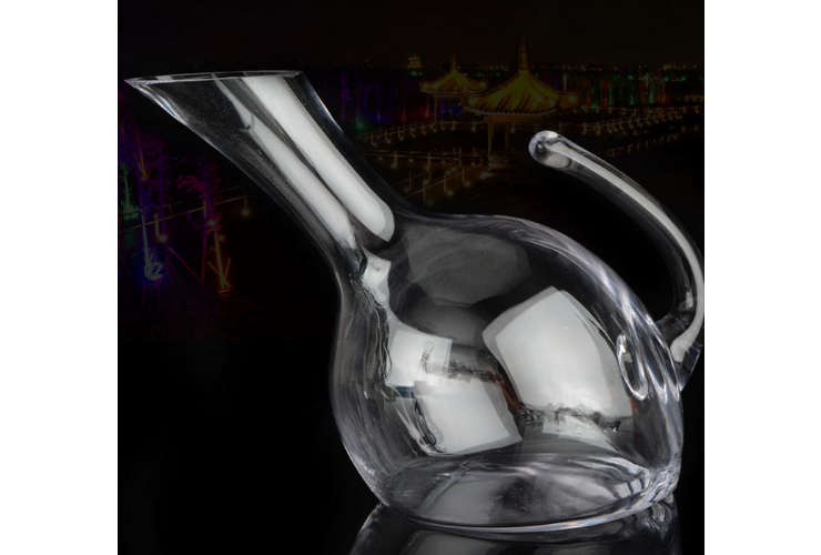 Lead-free Crystal Purely-handmade-blown Tilted-mouth With Handle Wine Red Wine Wine-dispensing Vessel Decanter