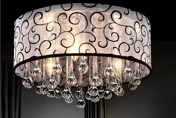 Restaurant LED Round Water-drop Ceiling Lamp Moderm Crystal Lamp