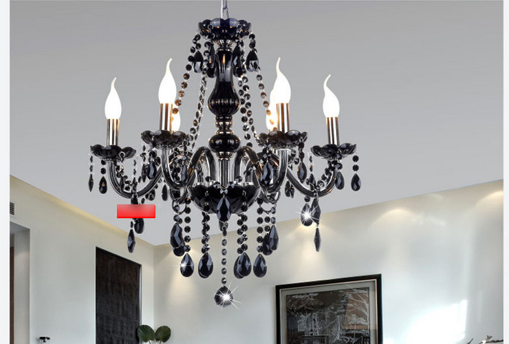 Hotel Restaurant Bar European-style Black Candle Crystal Chandelier