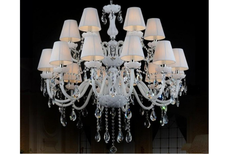 Hotel Restaurant Bar European-style White Candle Crystal Chandelier