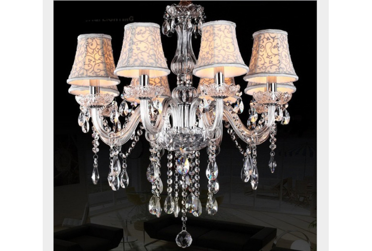 Restaurant Clear Crystal Chandelier European Crystal Candle Lamp