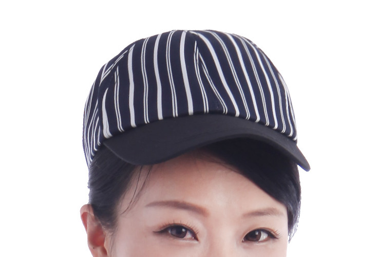 Waiter Waitress Restaurant Cap Strip Grid Pattern Cap Workcap