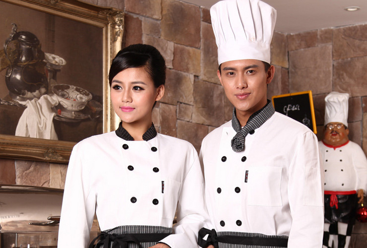 Hotel Restaurant Kitchen Cakeshop Noodle Shop Workwear Restaurant Floor Uniform Long-sleeve Shirt