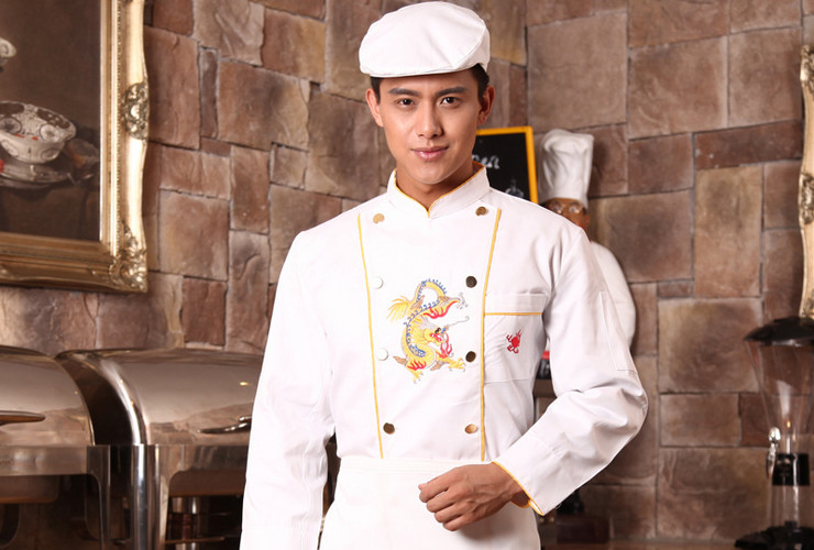 Hotel Restaurant Kitchen Embroidered-dragon Chief Chef Workwear Restaurant Floor Uniform Long-sleeve Shirt